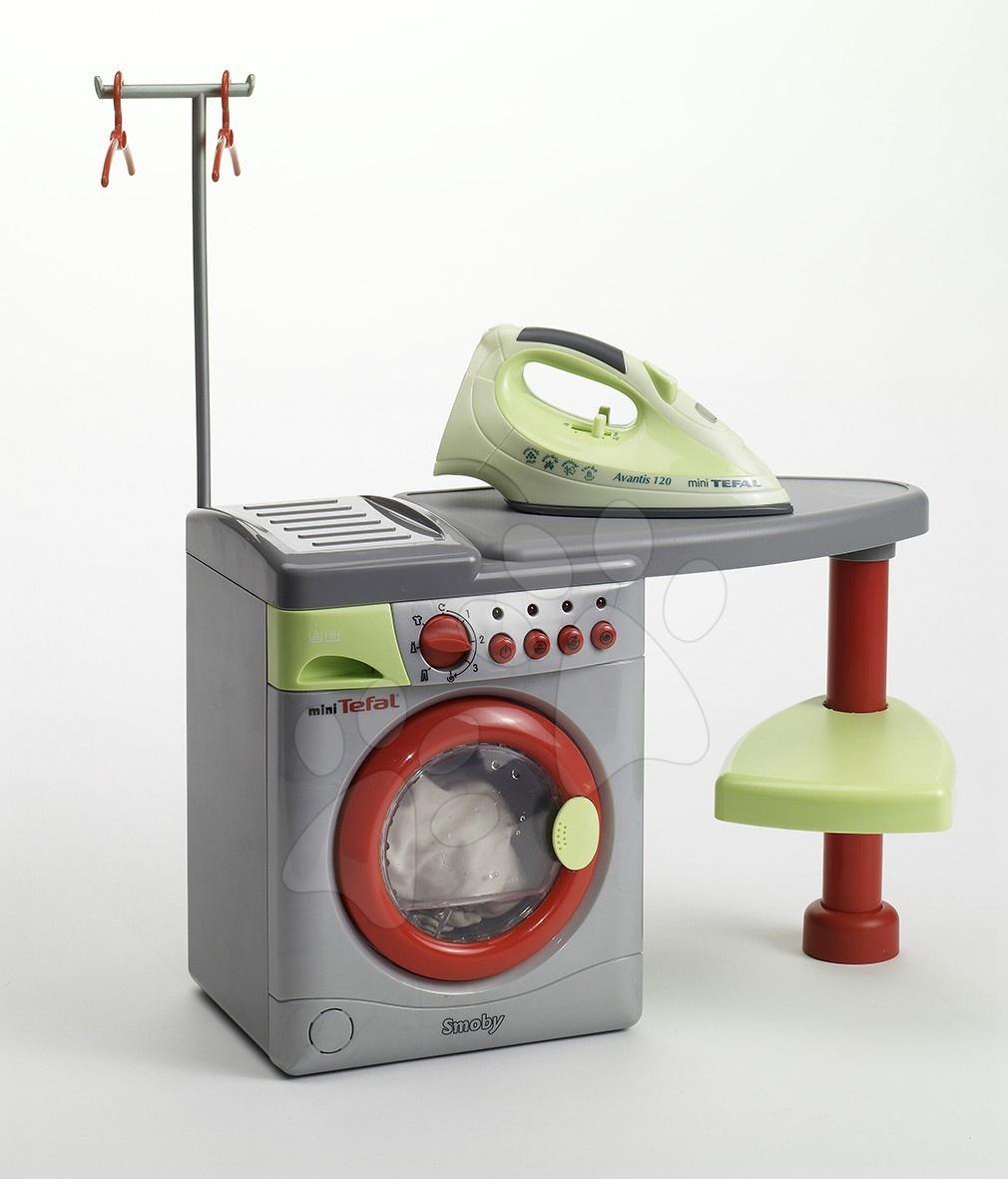 Tefal práčka elektrická set Smoby so žehliacou doskou šedá