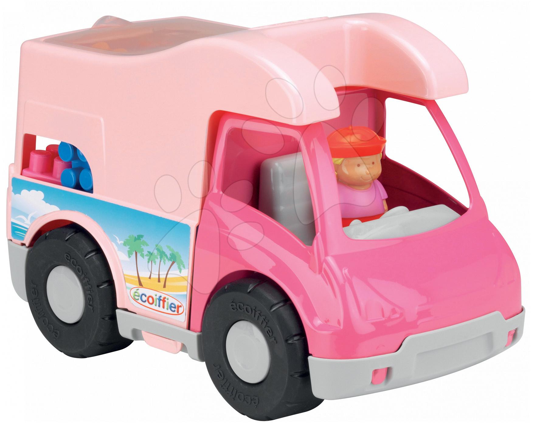 Stavebnica Abrick - karavan s kockami Écoiffier ružový od 18 mes