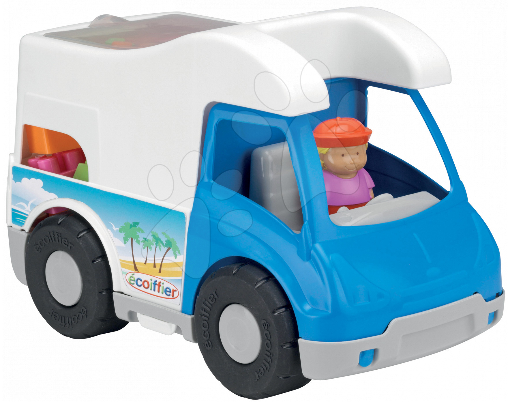 Stavebnica Abrick - karavan s kockami Écoiffier modrý od 18 mes