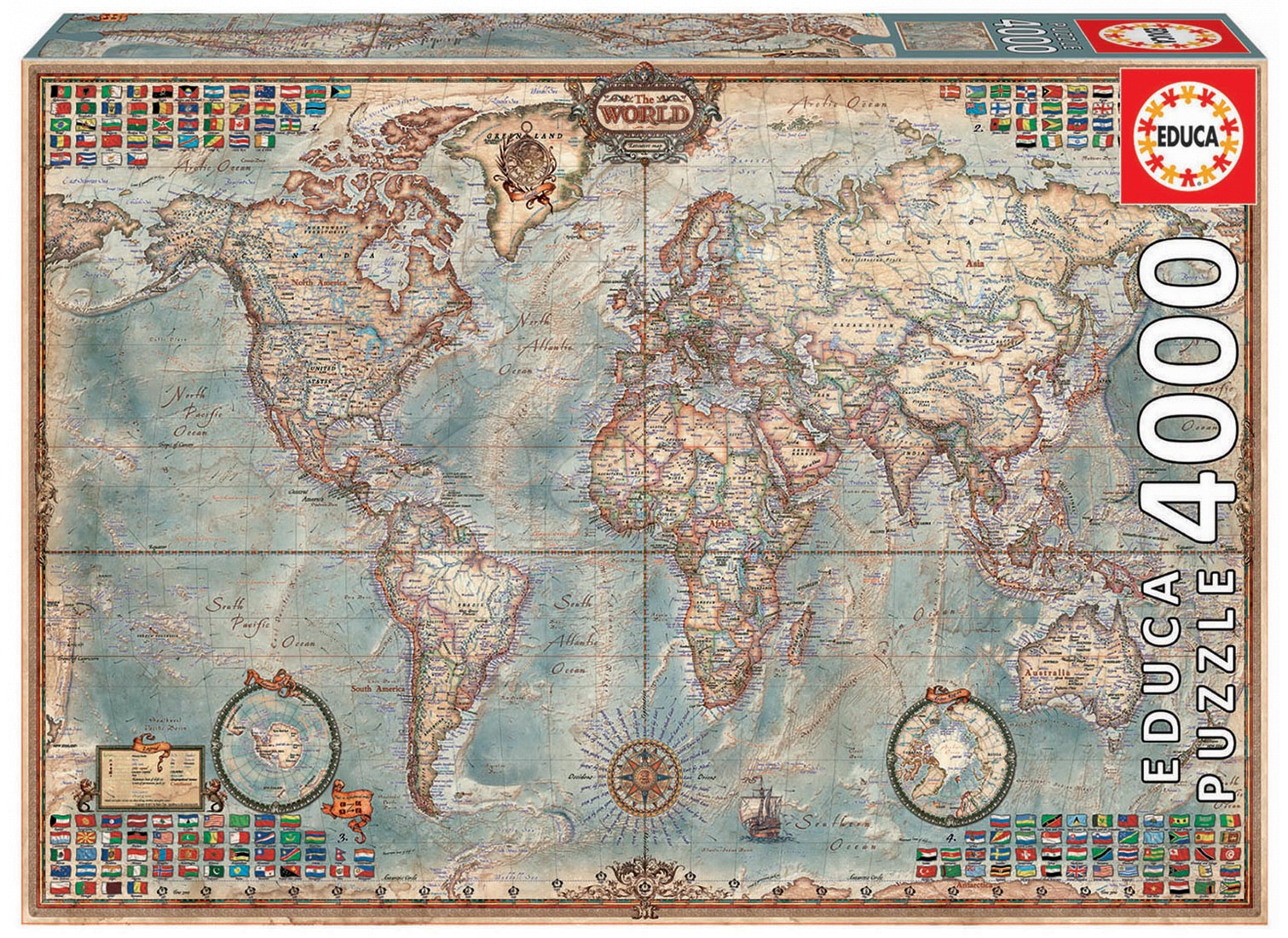 Educa Puzzle The World Executive Map 4000 dielikov 14827 farebné