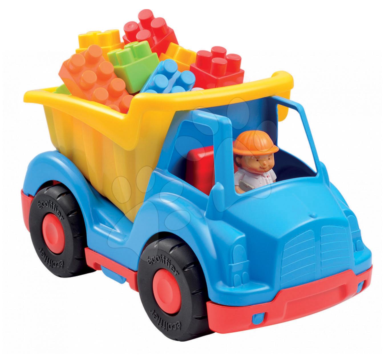 Stavebnice Abrick - vyklápěč s kostkami Écoiffier modro-červeno-žlutý s řidičem od 18 měsíců