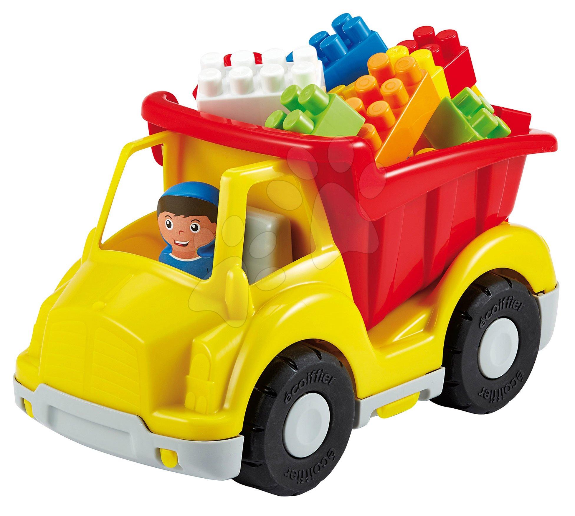 Stavebnice Abrick - Stavebnice Abrick - vyklápěč s kostkami Écoiffier modro-červeno-žlutý s řidičem od 18 měsíců