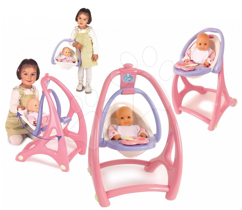 Staré položky - Stolička hojdačka a nosidlo Lilou pre bábiku 3v1 Smoby od 18 mes