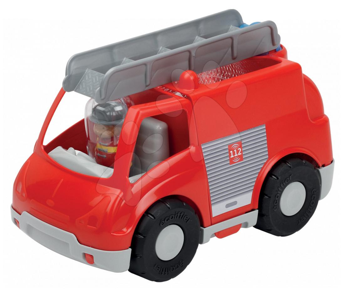 Stavebnice požární auto Abrick Écoiffier kostky a červené hasičské auto od 18 měsíců
