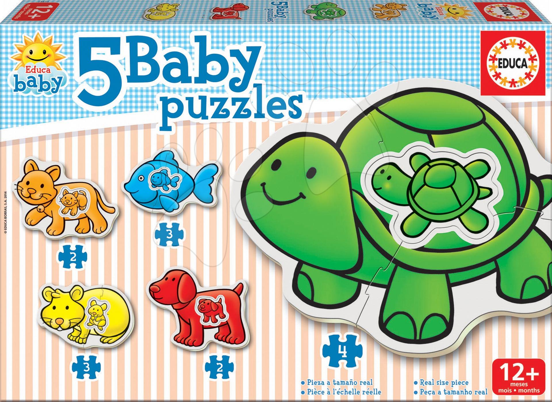 Baby puzzle Zvířátka se želvou Educa 5obrázkové od 12 měsíců