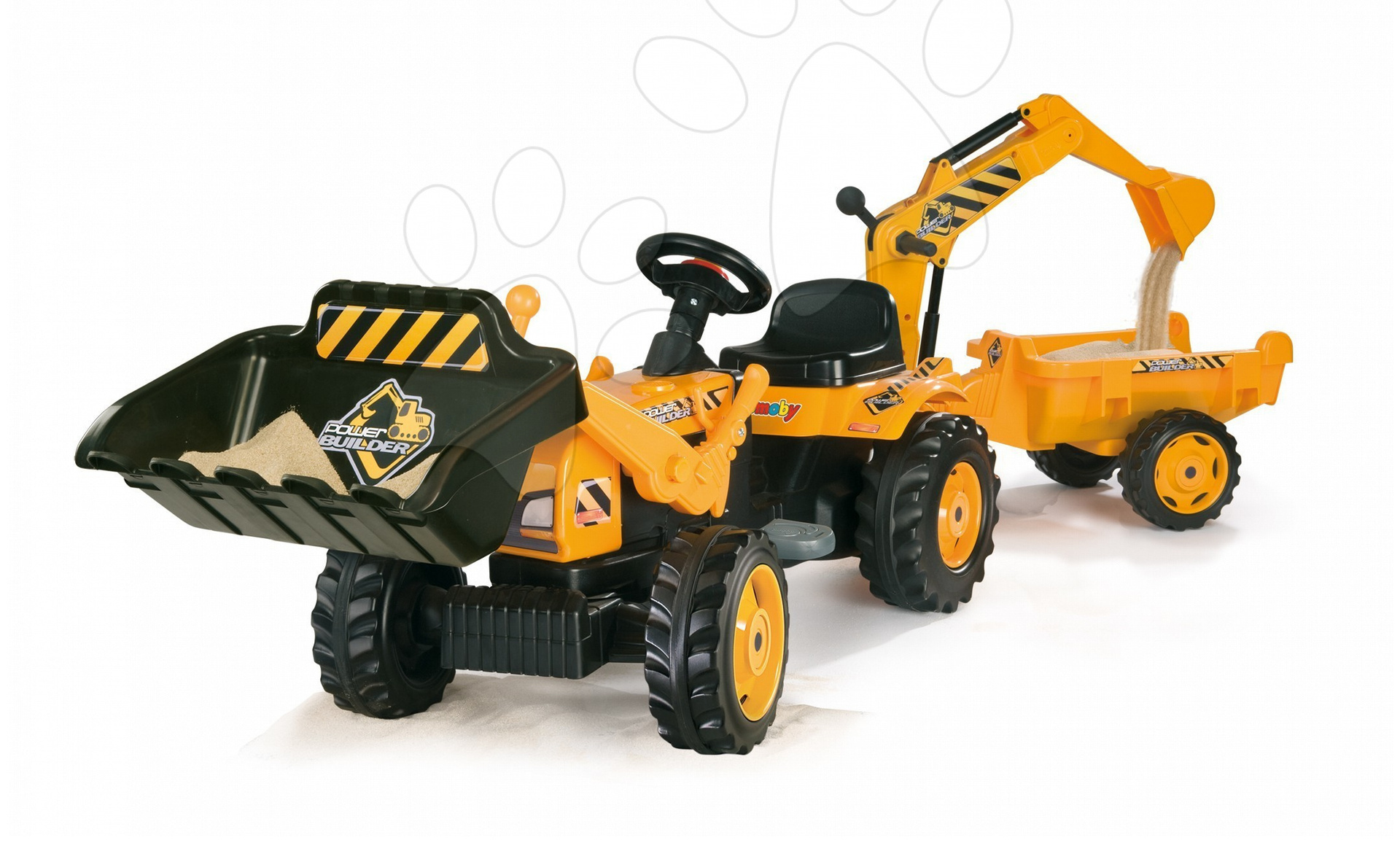 Traktor na šlapání Power Builder Smoby s přívěsem, nakladačem a bagrem žlutý