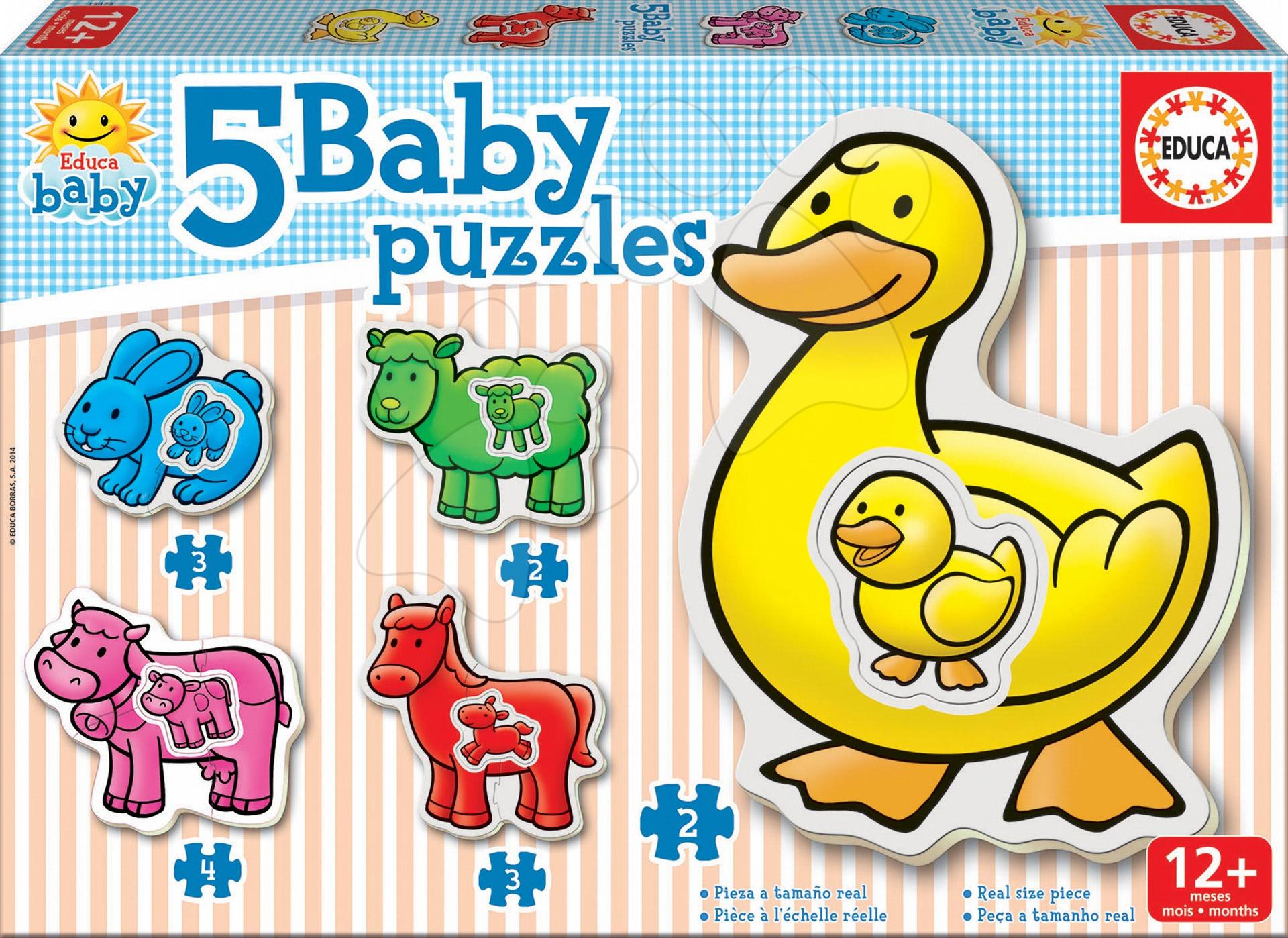 Baby puzzle Zvieratká s kačičkou Educa 5-obrázkové od 12 mes