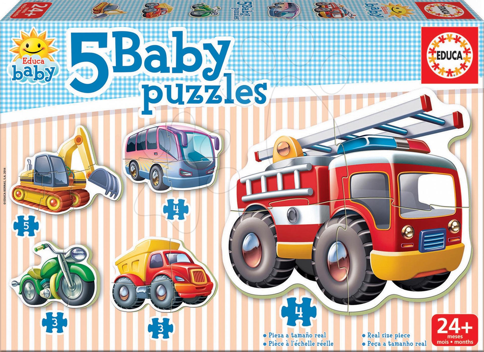 Puzzle bebe Mijloace de transport Educa cu 5 imagini diferite de la 24 luni