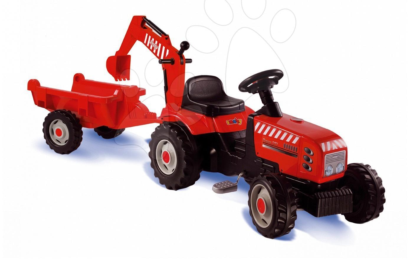Staré položky - Traktor na šlapanie Smoby s prívesom a nakladačom