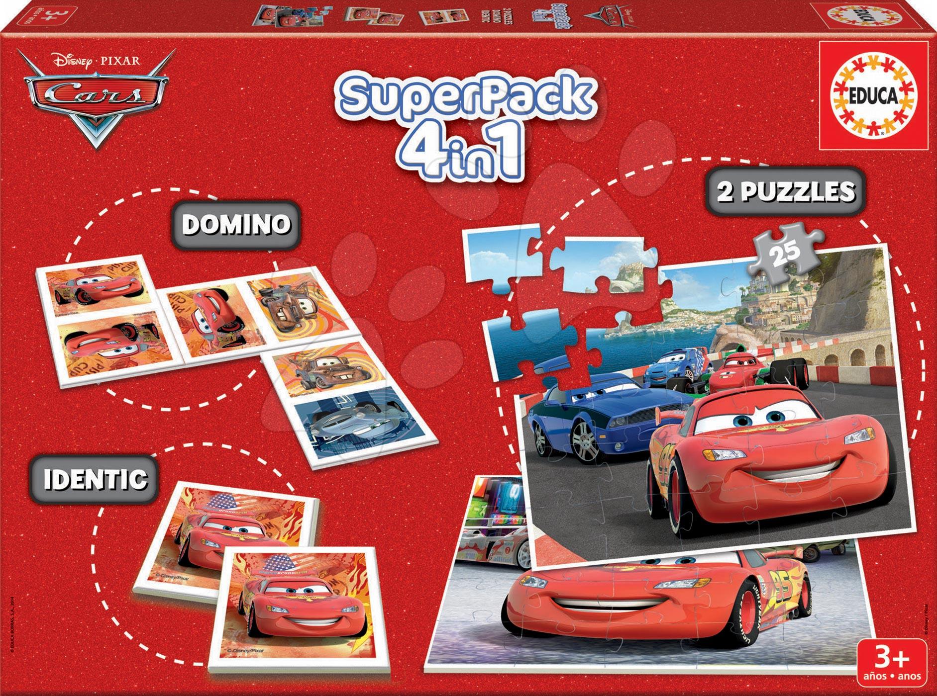 Puzzle Autá 2 SuperPack 4 v 1 Educa 2x puzzle, domino, pexeso