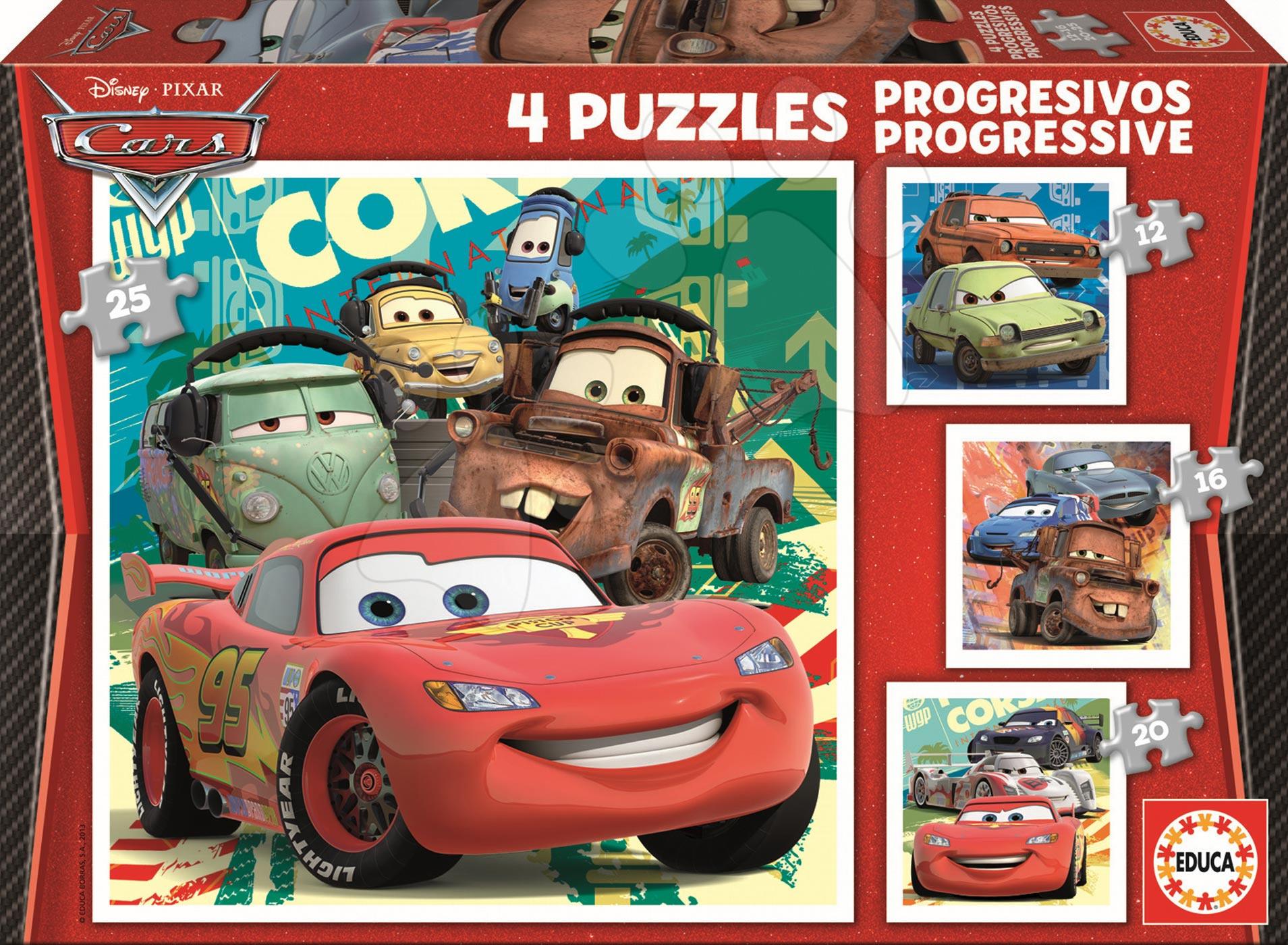 Puzzle Disney Auta 2 Educa 25-20-16-12 dílů od 24 měsíců