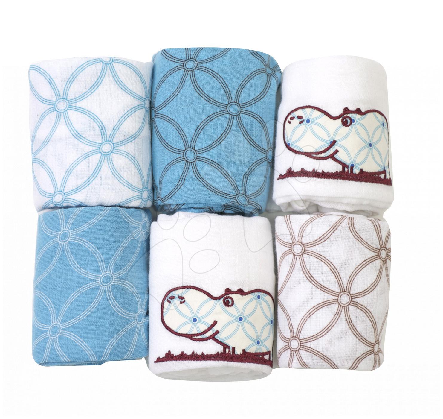 Bavlněné pleny toTs-smarTrike hroch 6 kusů 100% přírodní bavlna modré