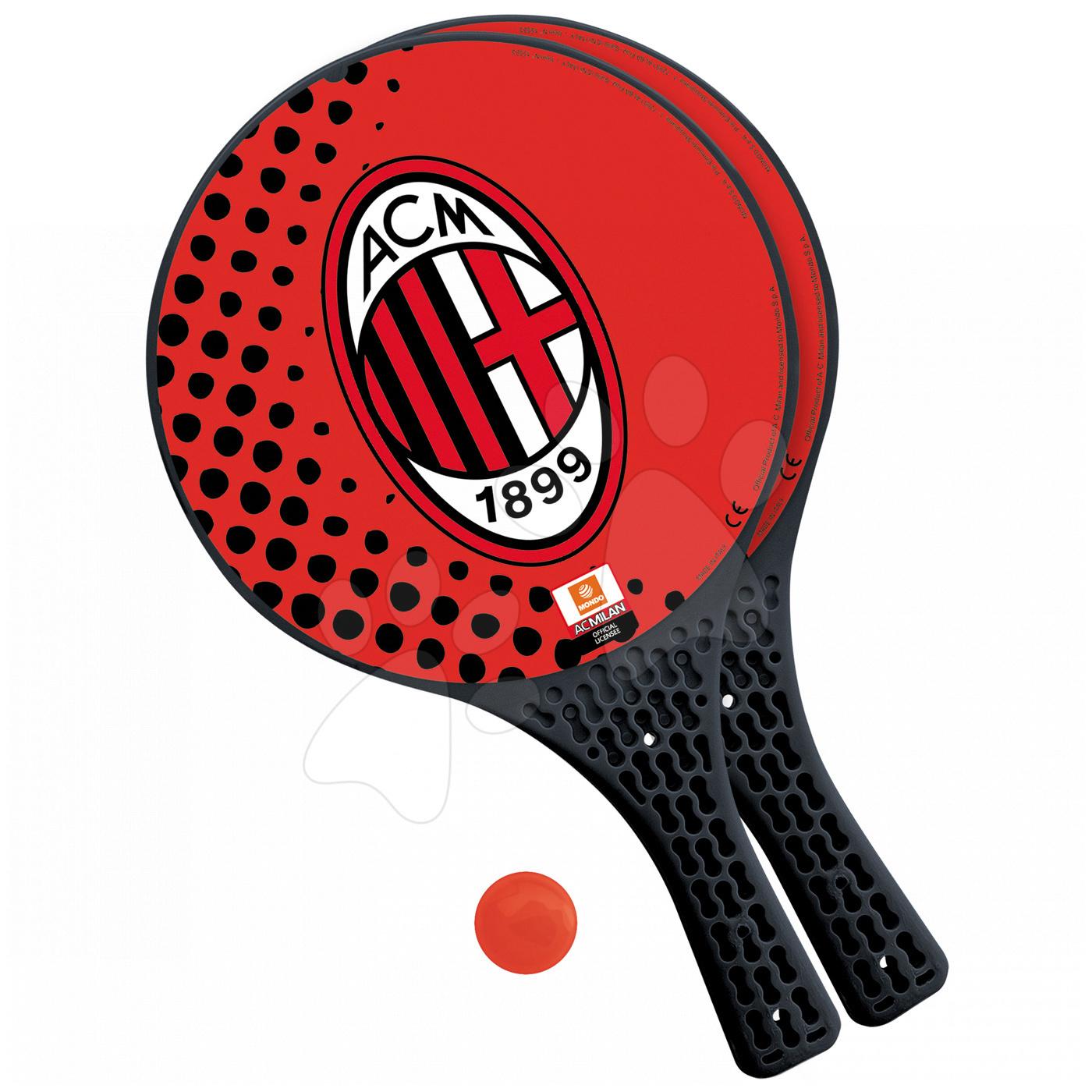 Plážový tenis A. C. Milano Mondo s 2 raketami a míčkem červený