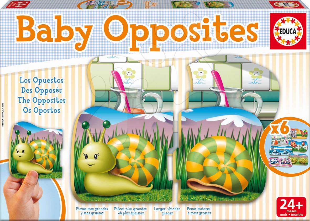 Puzzle pre najmenších - Puzzle Baby Opposites Protiklady Educa 6x2 dieliky 6-obrázkové od 24 mes