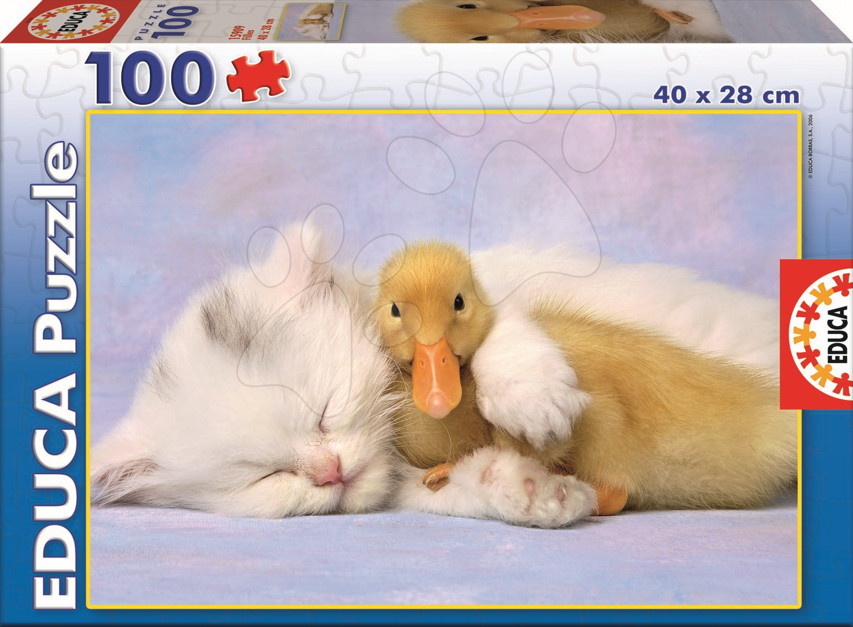 Detské puzzle od 100-300 dielov - Puzzle Mačička a kačička Educa 100 dielov od 5 rokov