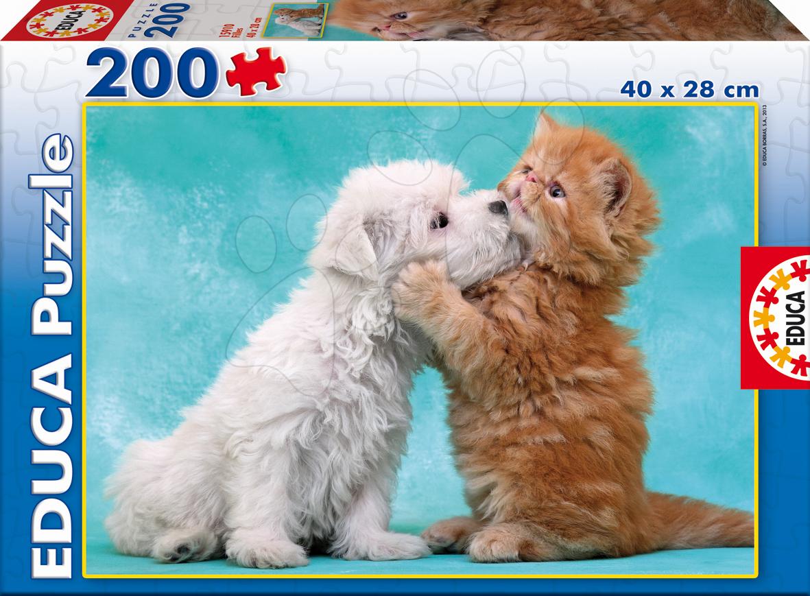 Detské puzzle od 100-300 dielov - Puzzle Mačička a pes Educa 200 dielov od 6 rokov
