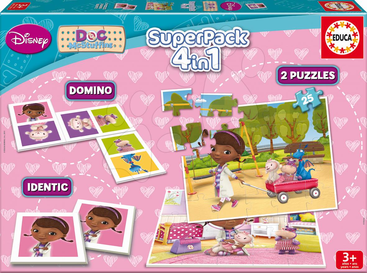Progresívne detské puzzle - Puzzle Doktorka McStuffins SuperPack 4 v 1 Educa 2x puzzle, domino, pexeso, progresívne