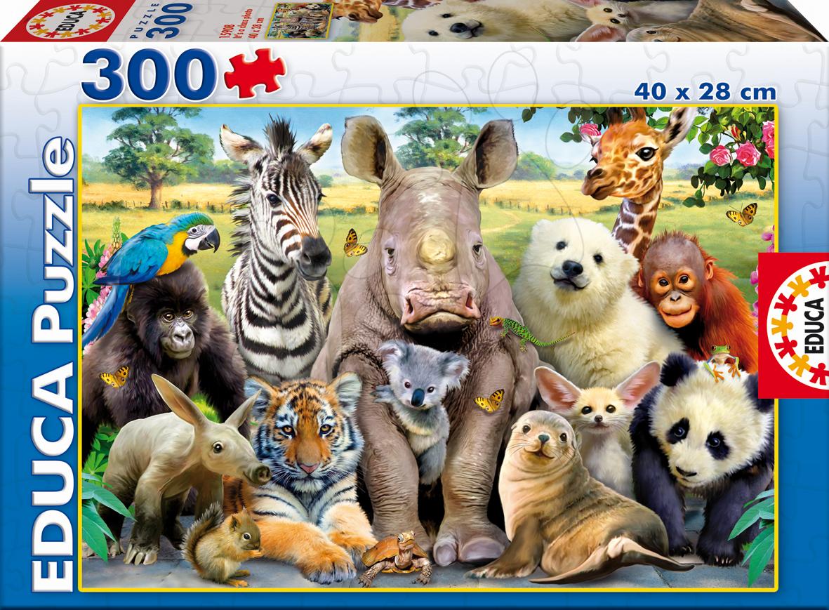 Detské puzzle od 100-300 dielov - Puzzle Zvieratká - Triedna fotka Educa 300 dielov od 8 rokov