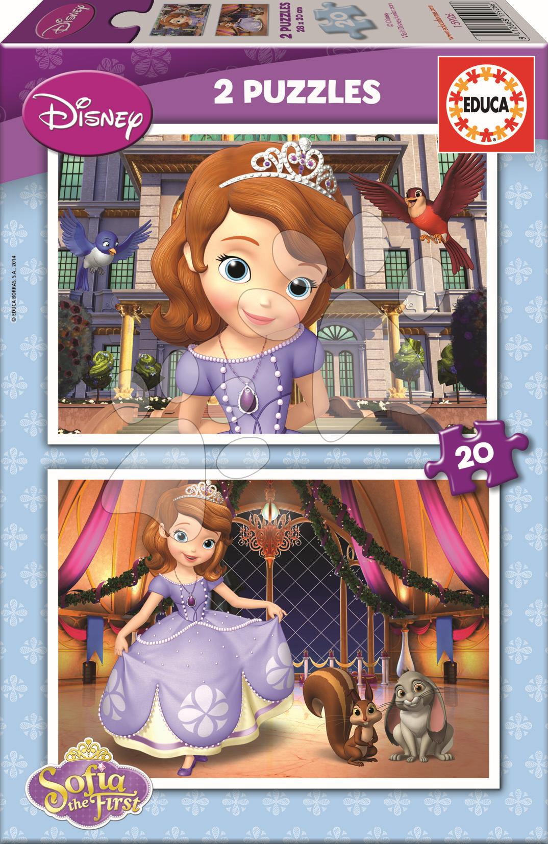 Detské puzzle do 100 dielov - Puzzle Disney Sofia Prvá Educa 2x 20 dielov