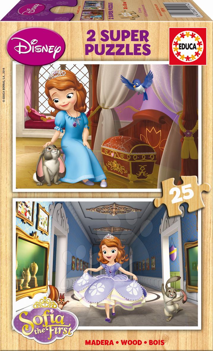 Drevené Disney puzzle - Drevené puzzle Sofia Prvá Educa 2x 25 dielov