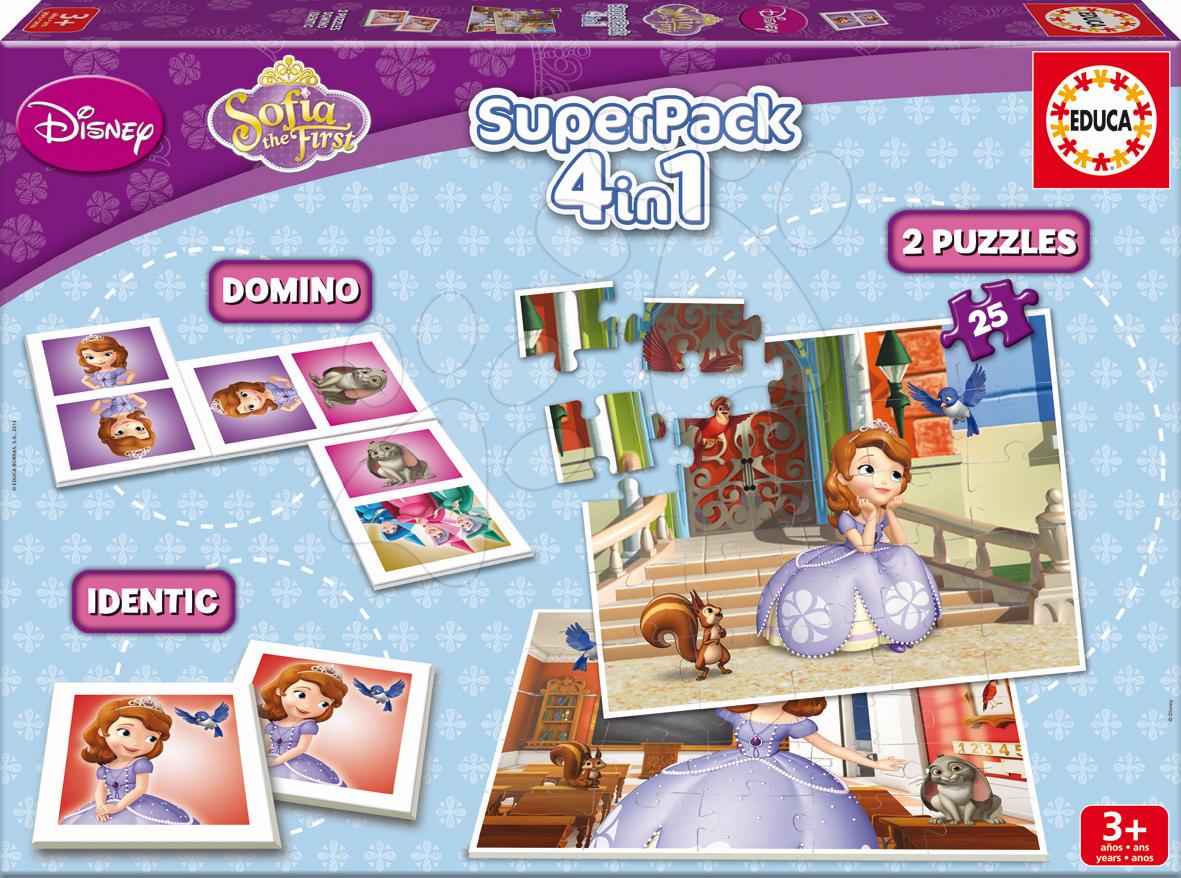 Progresívne detské puzzle - Puzzle Sofia Prvá SuperPack 4 v 1 Educa 2x puzzle, domino, pexeso, progresívne