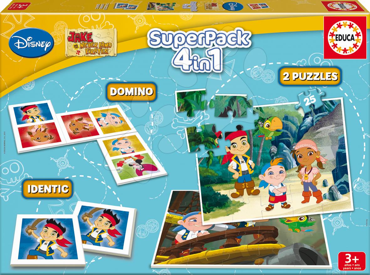 Progresívne detské puzzle - Puzzle Jake a Piráti z Krajiny nekrajiny SuperPack 4 v 1 Educa 2x puzzle, domino, pexeso, progresívne