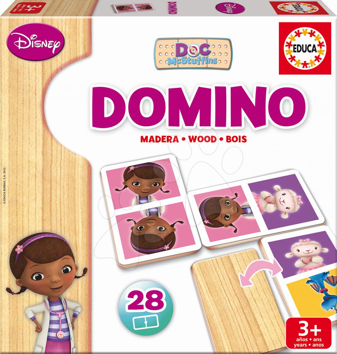 Domino a Lotto - Drevené domino Doktorka McStuffins Educa 28 ks