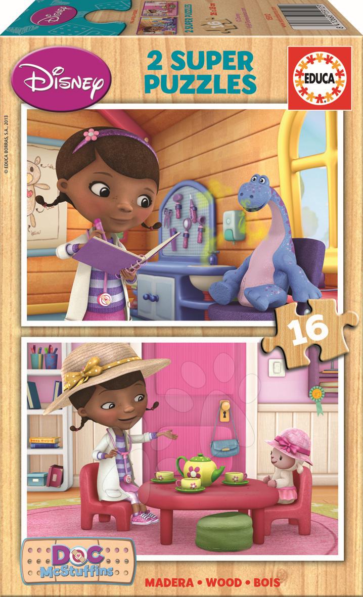Drevené Disney puzzle - Drevené puzzle Doktorka McStuffins Educa 2x 16 dielov