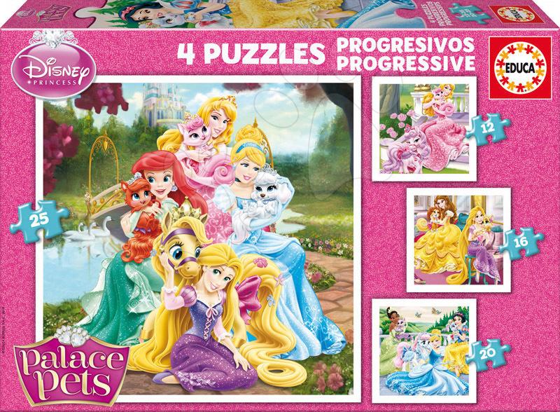 Progresívne detské puzzle - Puzzle Palácoví domáci miláčikovia Educa 25-20-16-12 dielov od 24 mes