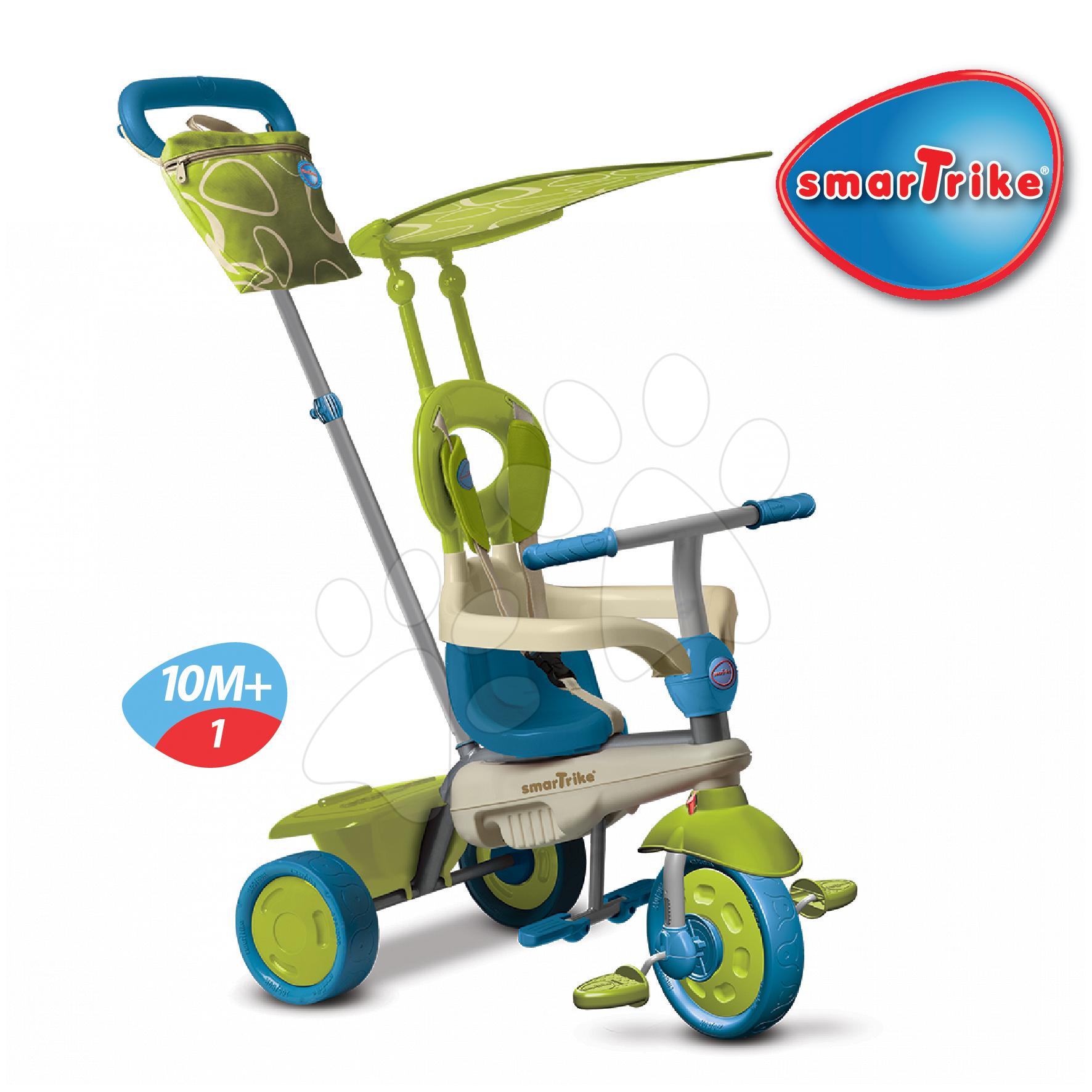 Trojkolky od 10 mesiacov - Trojkolka Vanilla Touch Steering smarTrike zeleno-modrá od 10 mes