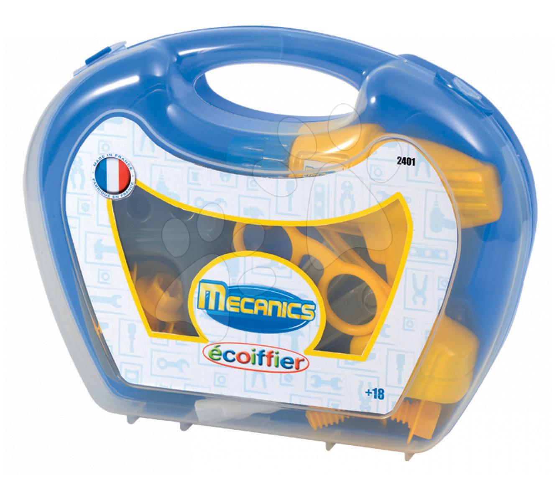 Dětský pracovní kufřík Mechanics Écoiffier s vrtačkou a nářadím od 18 měsíců s 17 doplňky modrý