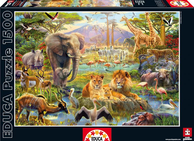 Puzzle 1500 dielne - Puzzle Genuine Africké napájadlo Educa 1500 dielov