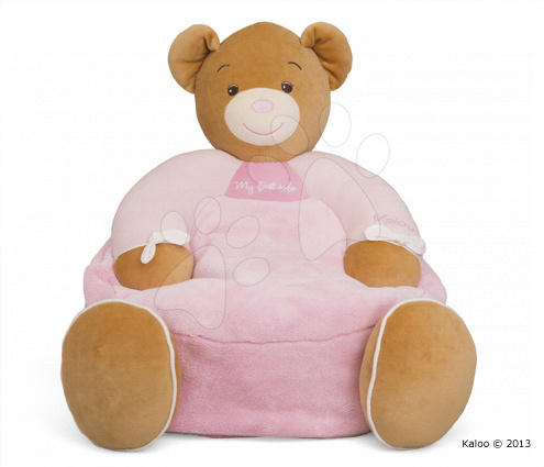 Detské sedačky - Kreslo plyšový medvedík Plume-Maxi Sofa Pink Bear Kaloo 45 cm pre najmenších ružové