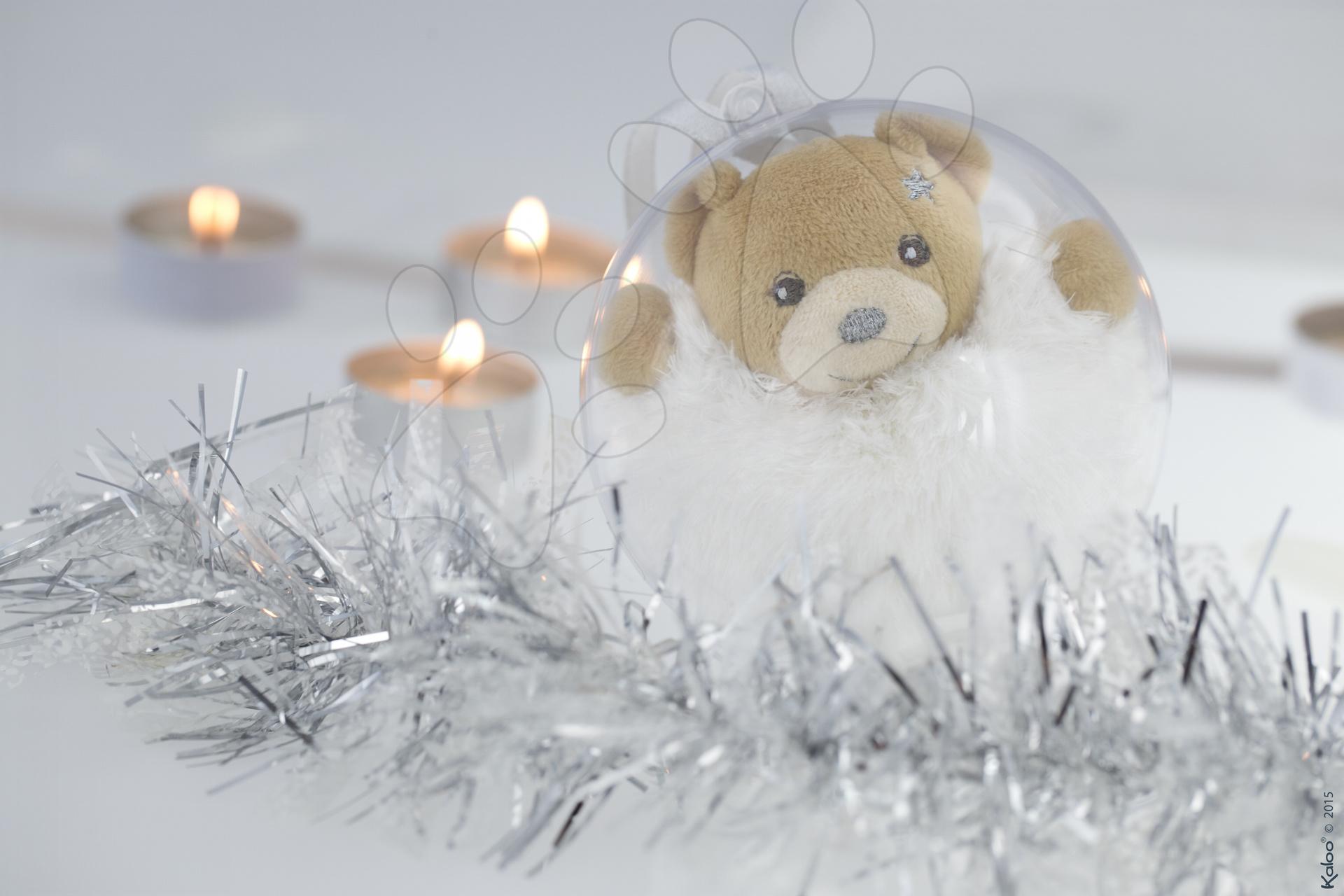 Plyšový medvěd Xmas Ball Kaloo Vánoční koule 11 cm pro nejmenší stříbrný
