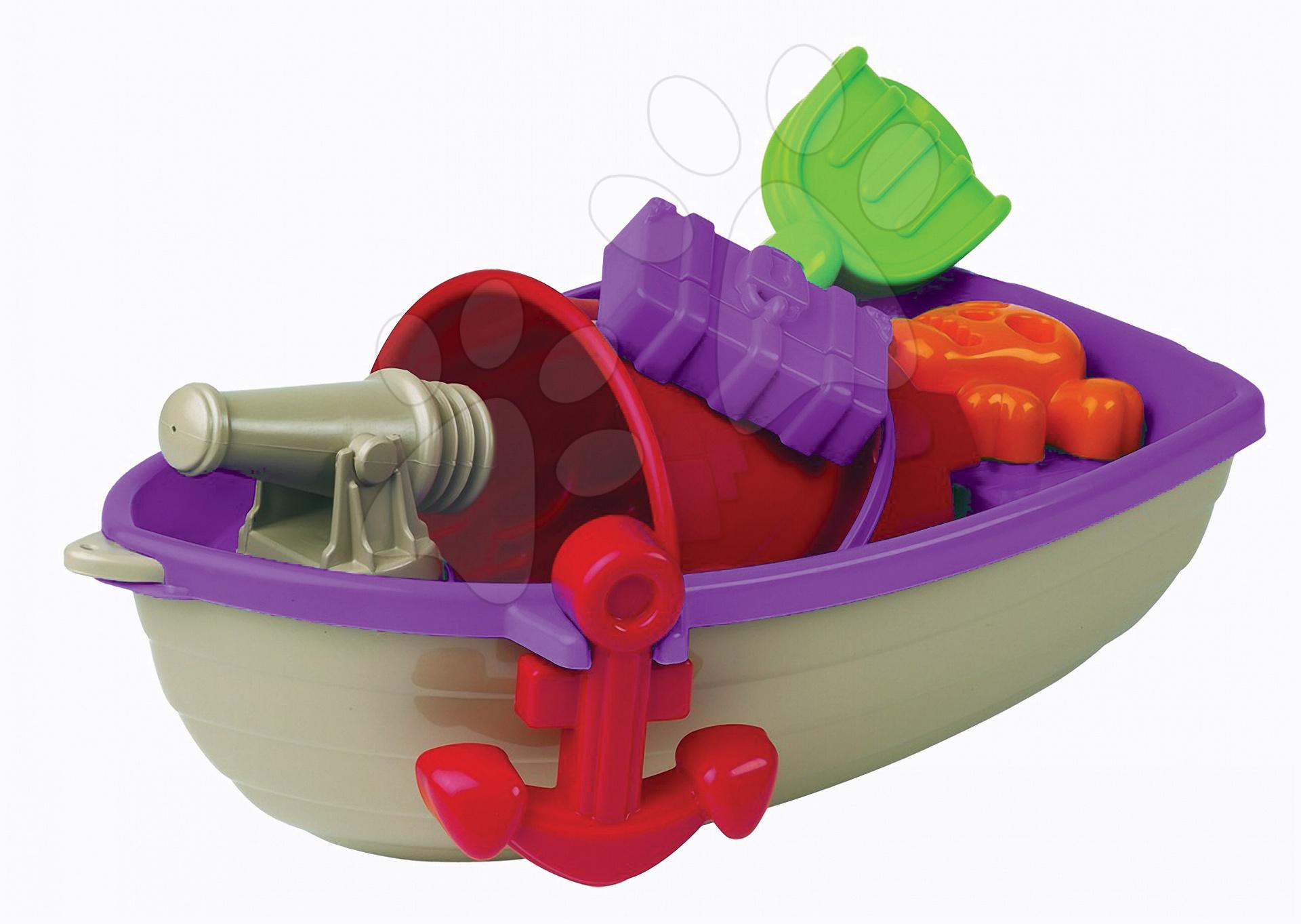 Lodě do písku - Pirátská loď s vědro setem Écoiffier 6 dílů (délka 40 cm) fialovo-šedá od 18 měsíců