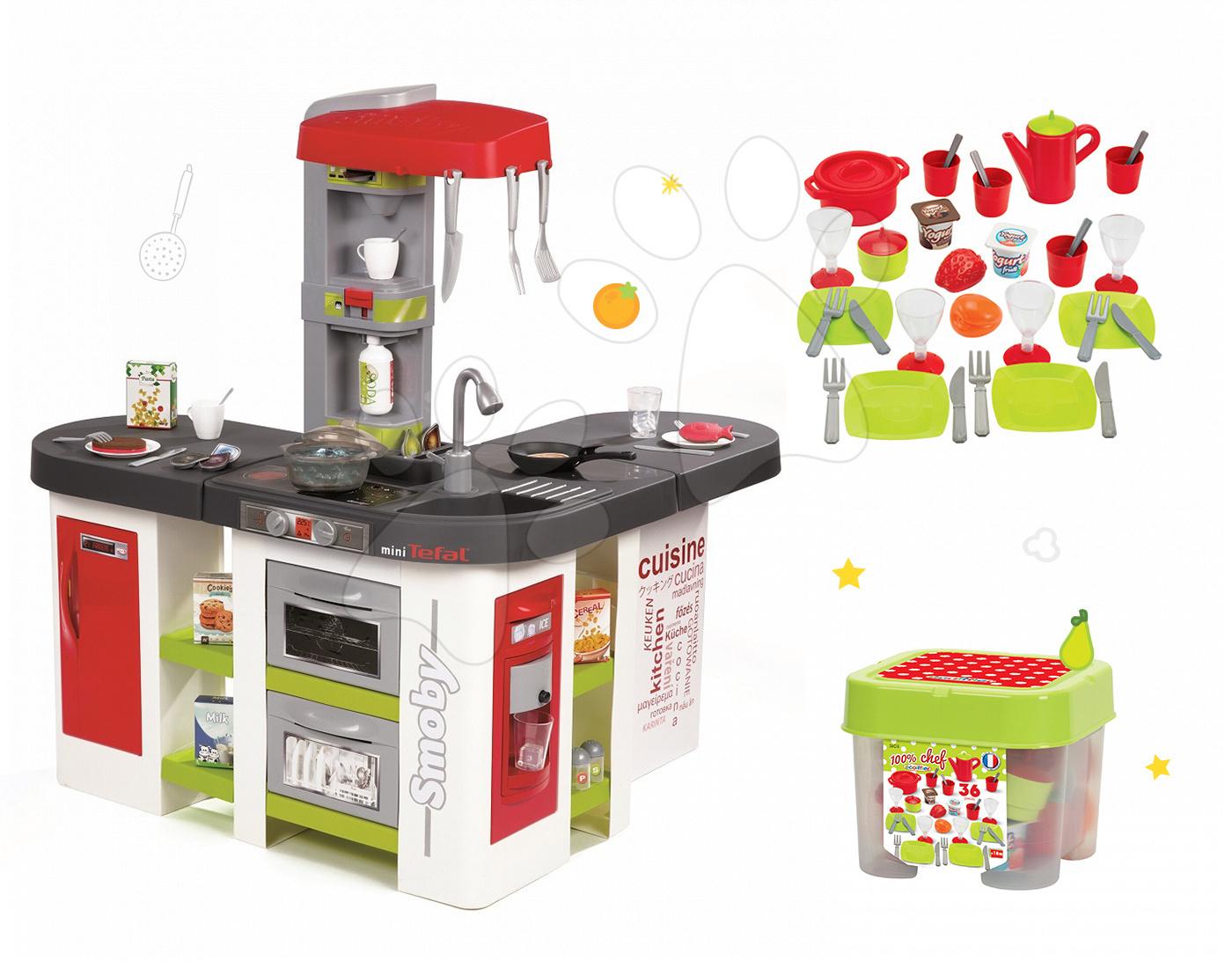 Set kuchyňka Tefal Studio XXL Smoby s magickým bubláním a jídelní souprava