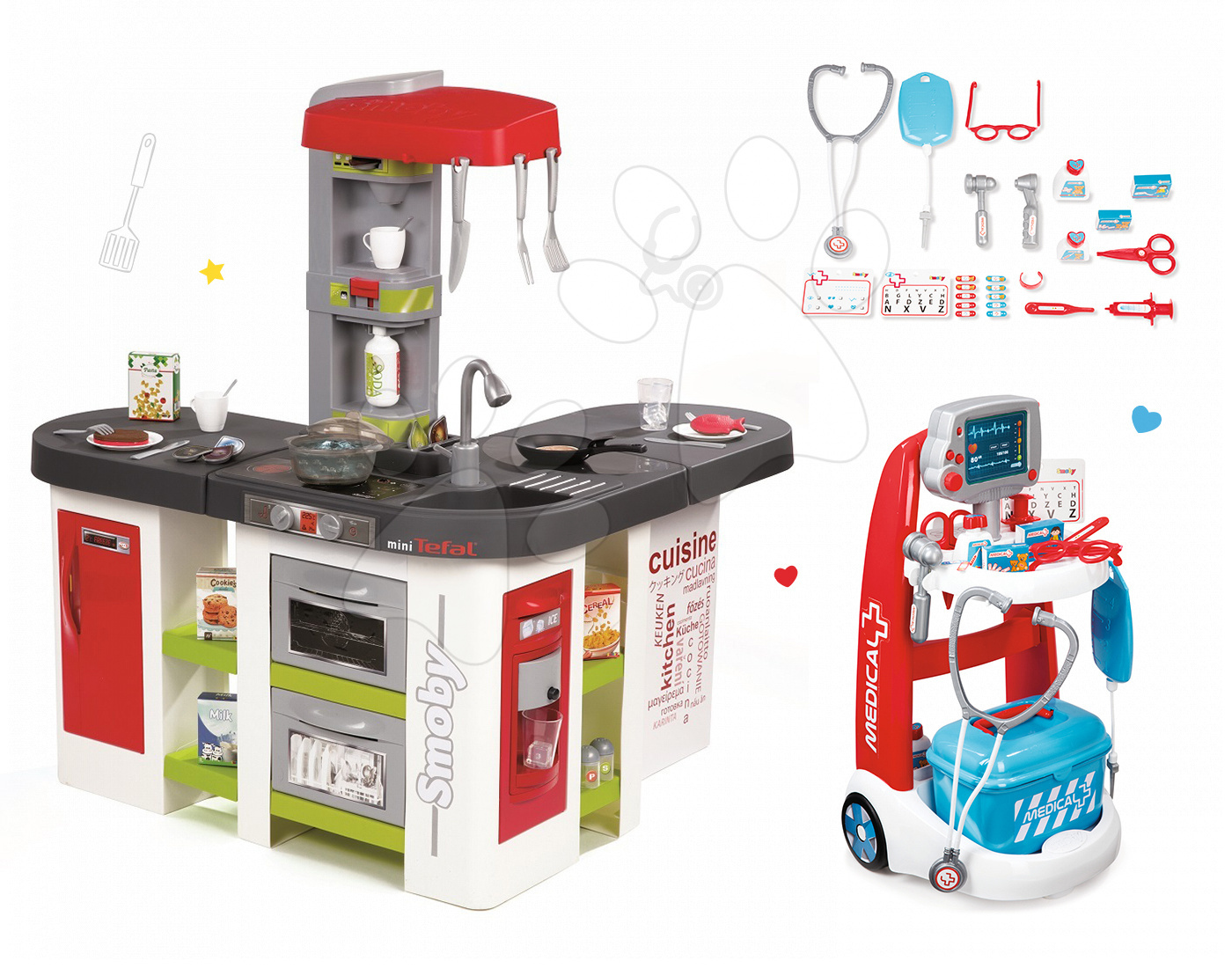 Smoby set detská kuchynka Tefal Studio XXL a lekársky vozík 311018-19