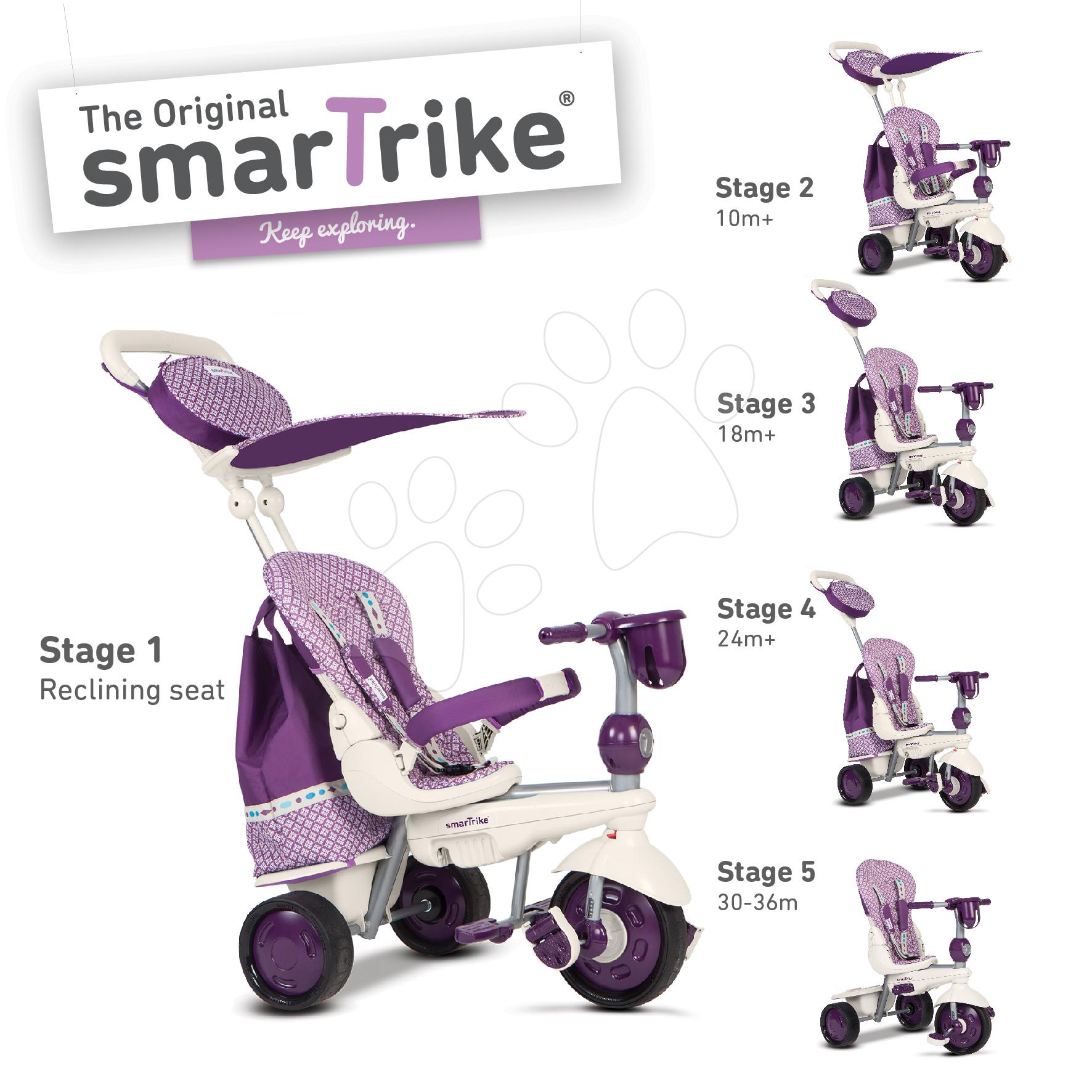 Dětská tříkolka Splash 5v1 Purple&White smarTrike 360° řízení s polohovatelnou opěrkou od 10 měsíců fialovo-krémová