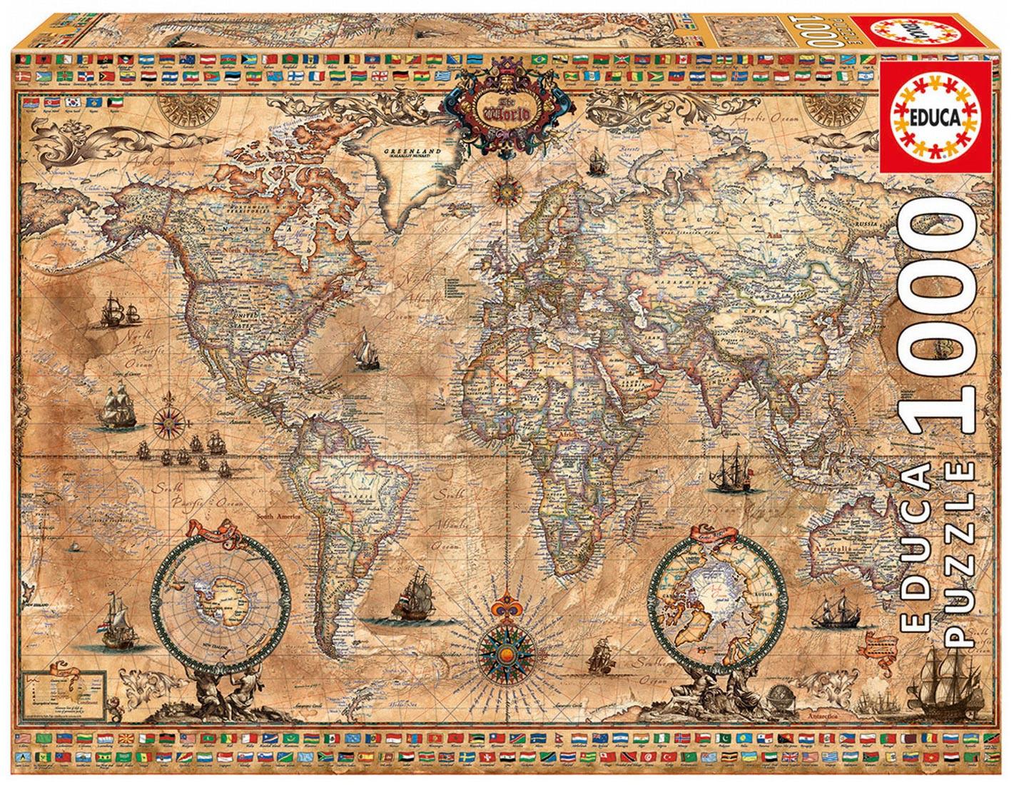 Educa Puzzle Antique World Map 1000 dielikov 15159 farebné