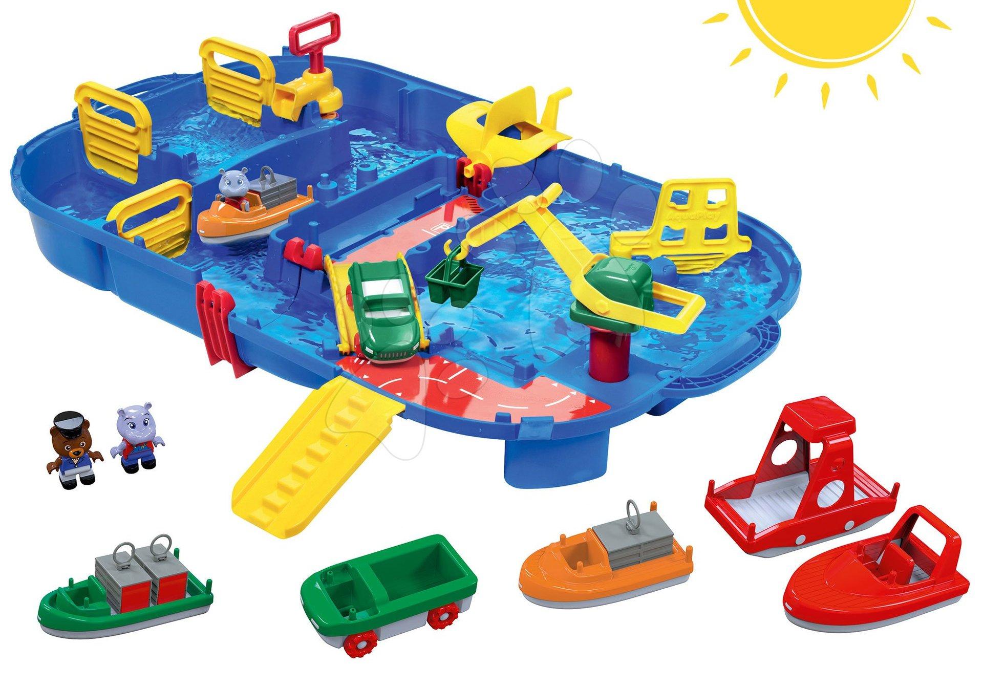 Set vodná dráha Aquaplay LockBox v kufríku s priehradou a loďky a člny s postavičkami od 3 rokov