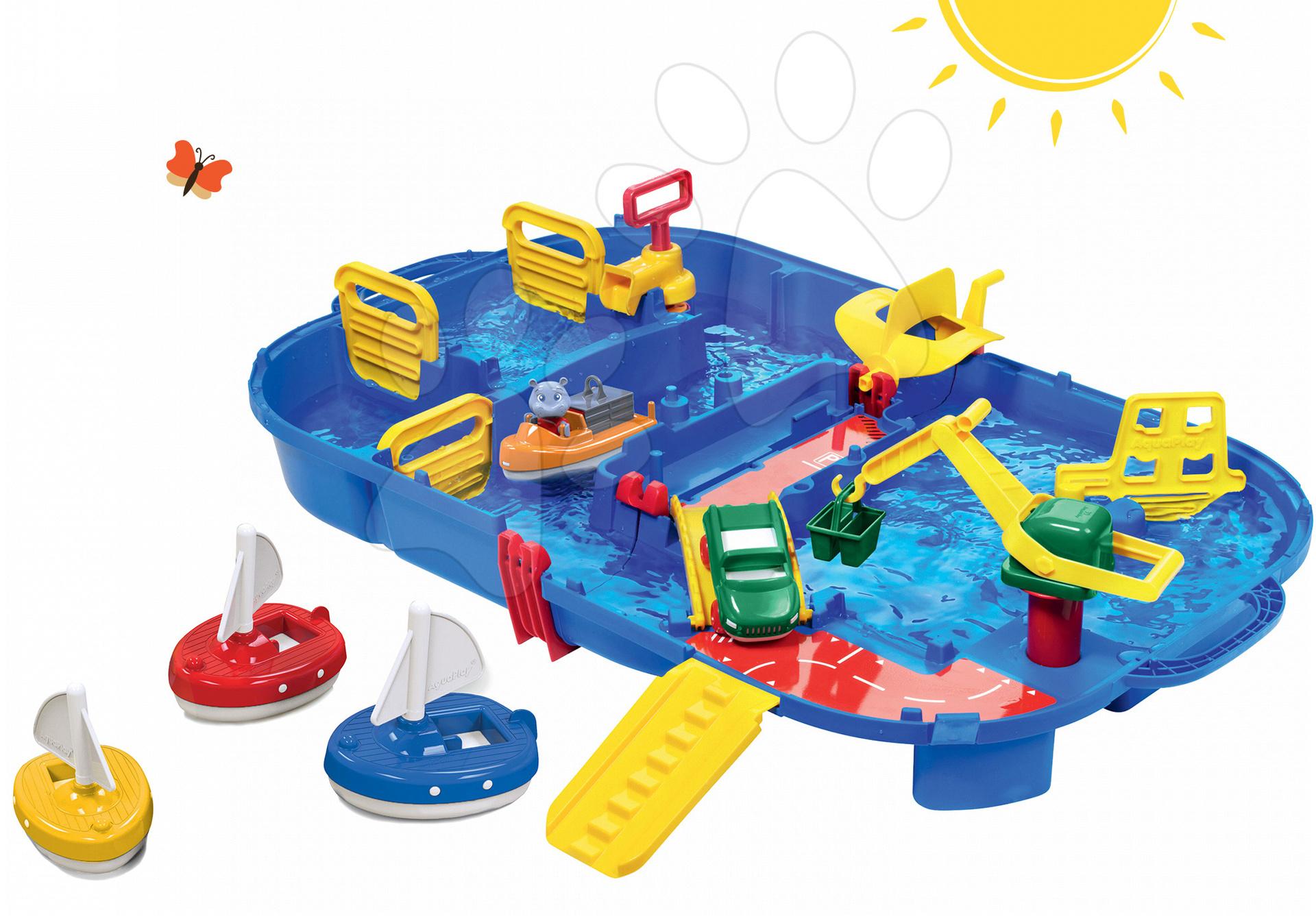 Set vodná dráha Aquaplay Lock Box v kufríku s vodnou pumpou a 3 plachetnice od 3 rokov