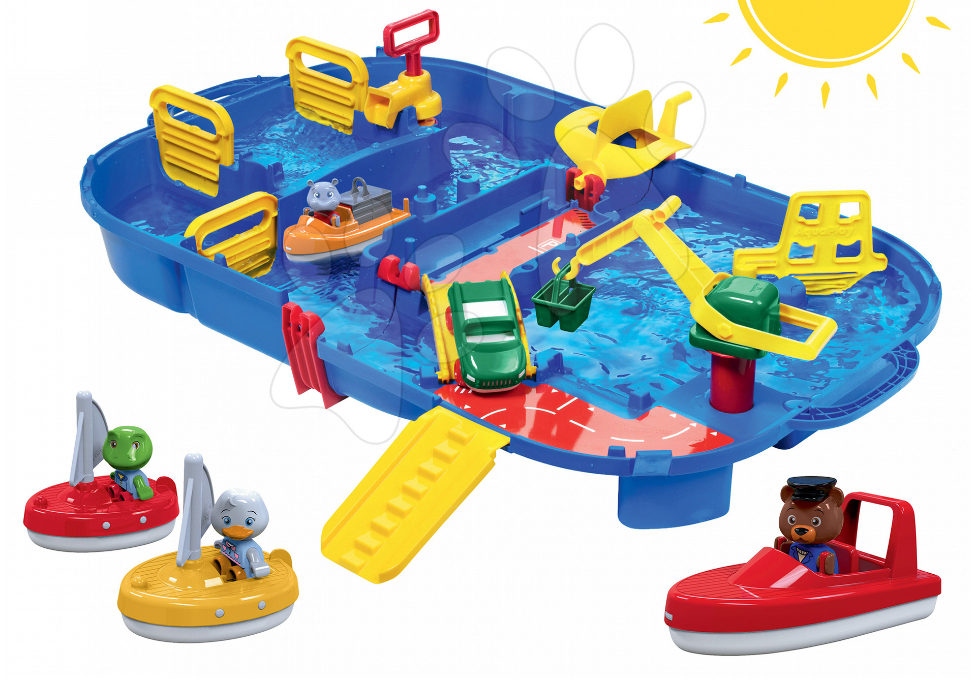 Set vodná dráha Aquaplay LockBox v kufríku s vodnou pumpou a 2 plachetnice s motorovým člnom 7 rokov