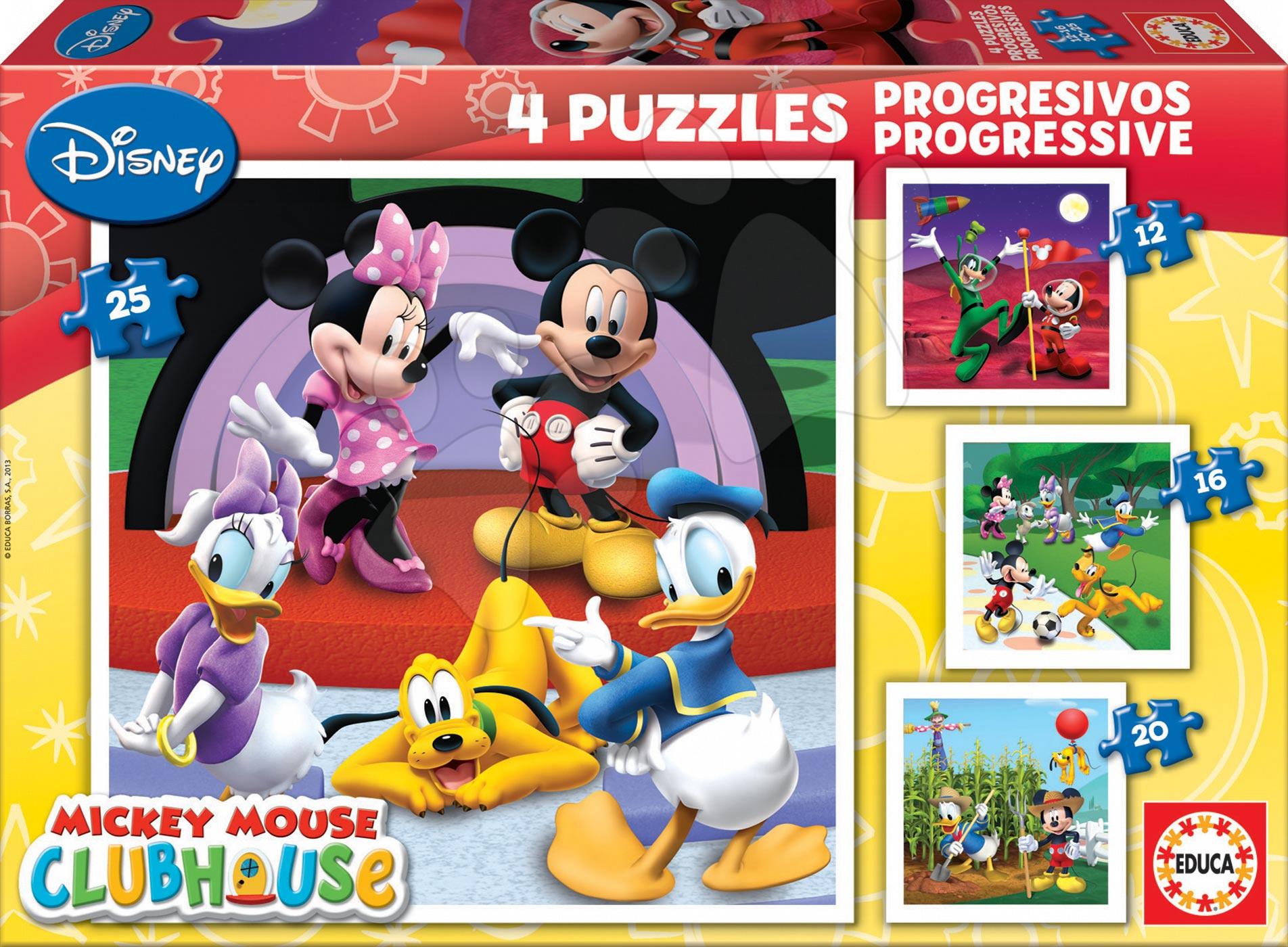 Puzzle Mickey Mouse Educa 25-20-16-12 dielov, progresívne od 24 mes