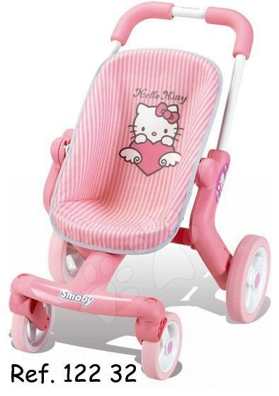 Staré položky - Kočík Hello Kitty pre bábiku Smoby svetloružový športový pre bábiku s otočnými kolieskami (53,5 cm rúčka)