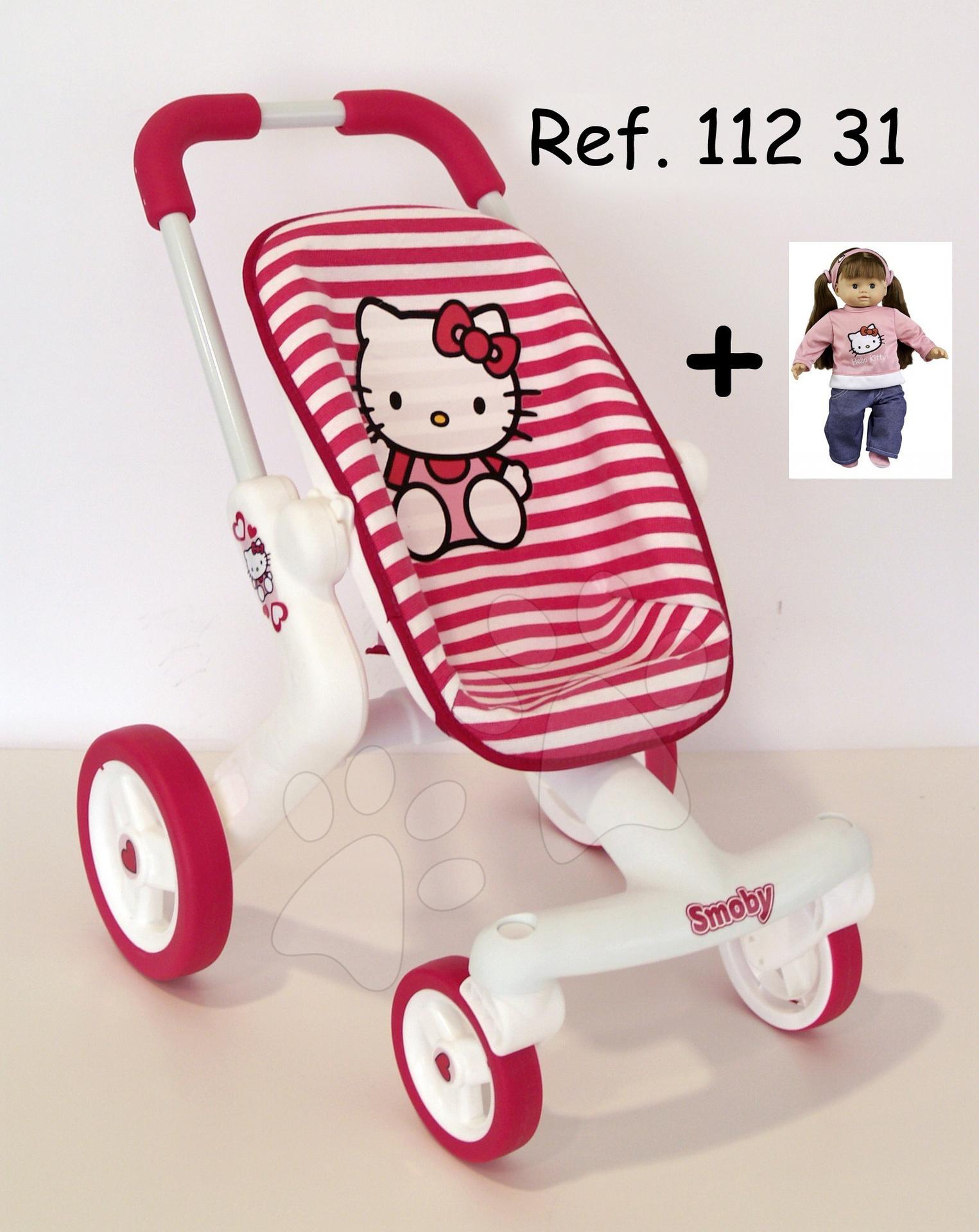 Hello Kitty kočárek sportovní Smoby s otočnými koly, tmavé proužky od 18 měsíců