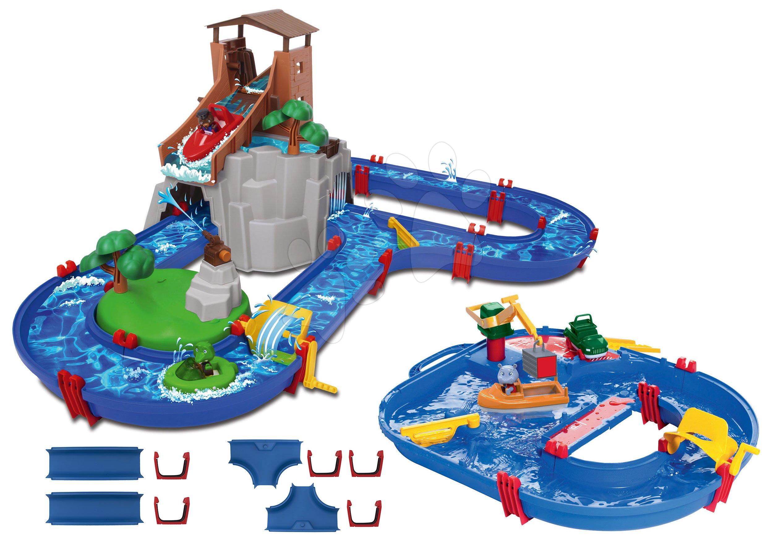 Set vodná dráha Adventure Land AquaPlay dobrodružstvo pod vodopádom a StartSet so žeriavom a loďky s náhradnými dielmi