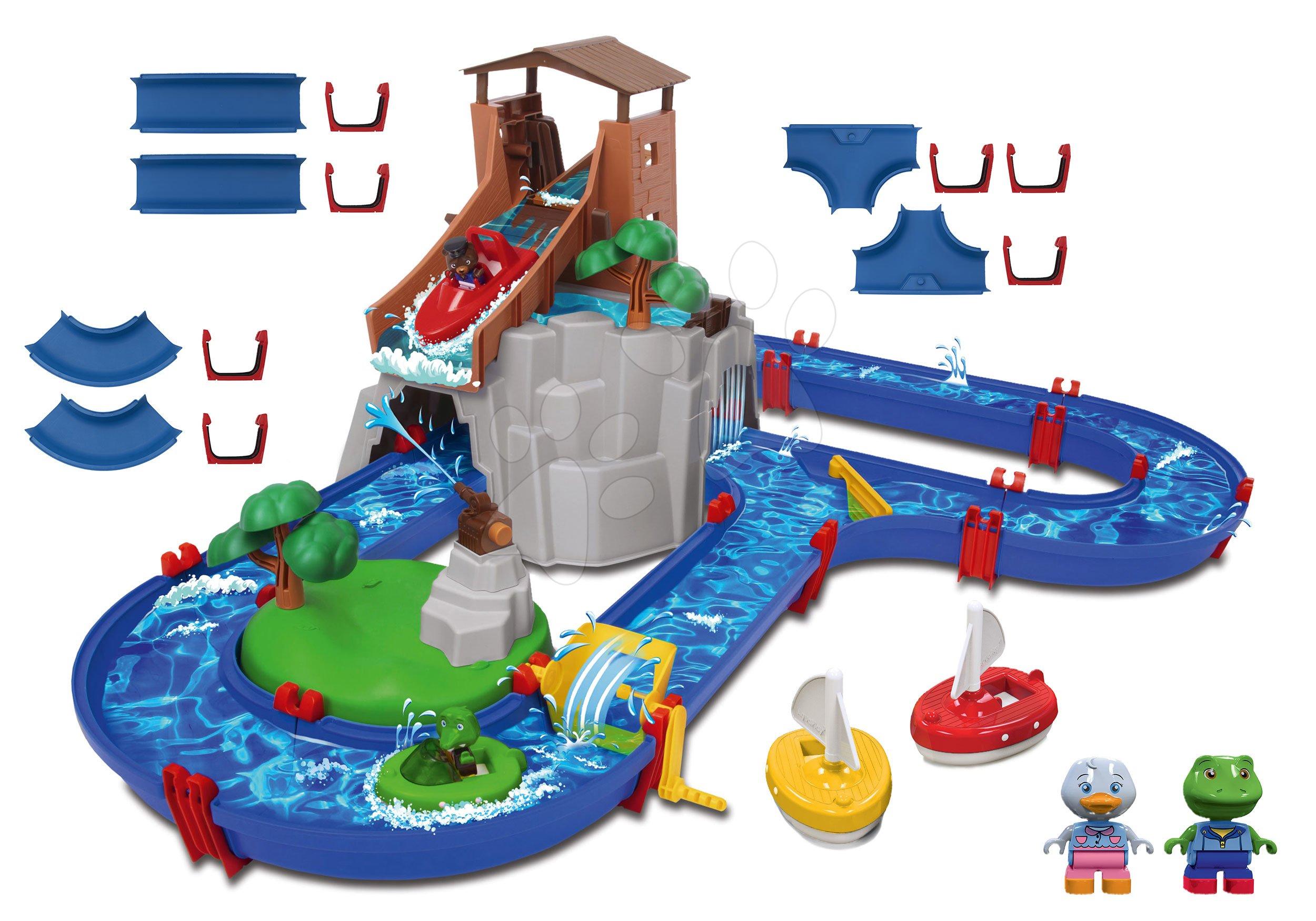 Set vodní dráha Adventure Land AquaPlay dobrodružství pod vodopádem a náhradní díly a těsnění