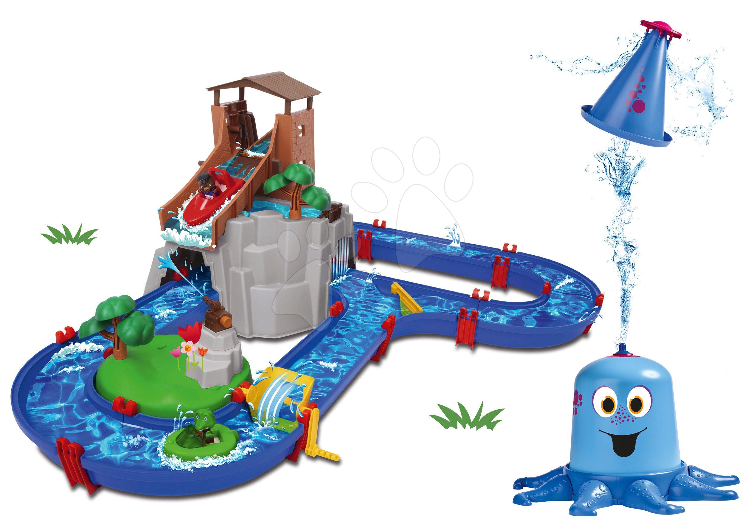 Set vodní dráha Adventure Land AquaPlay dobrodružství pod vodopádem a stříkající chobotnice