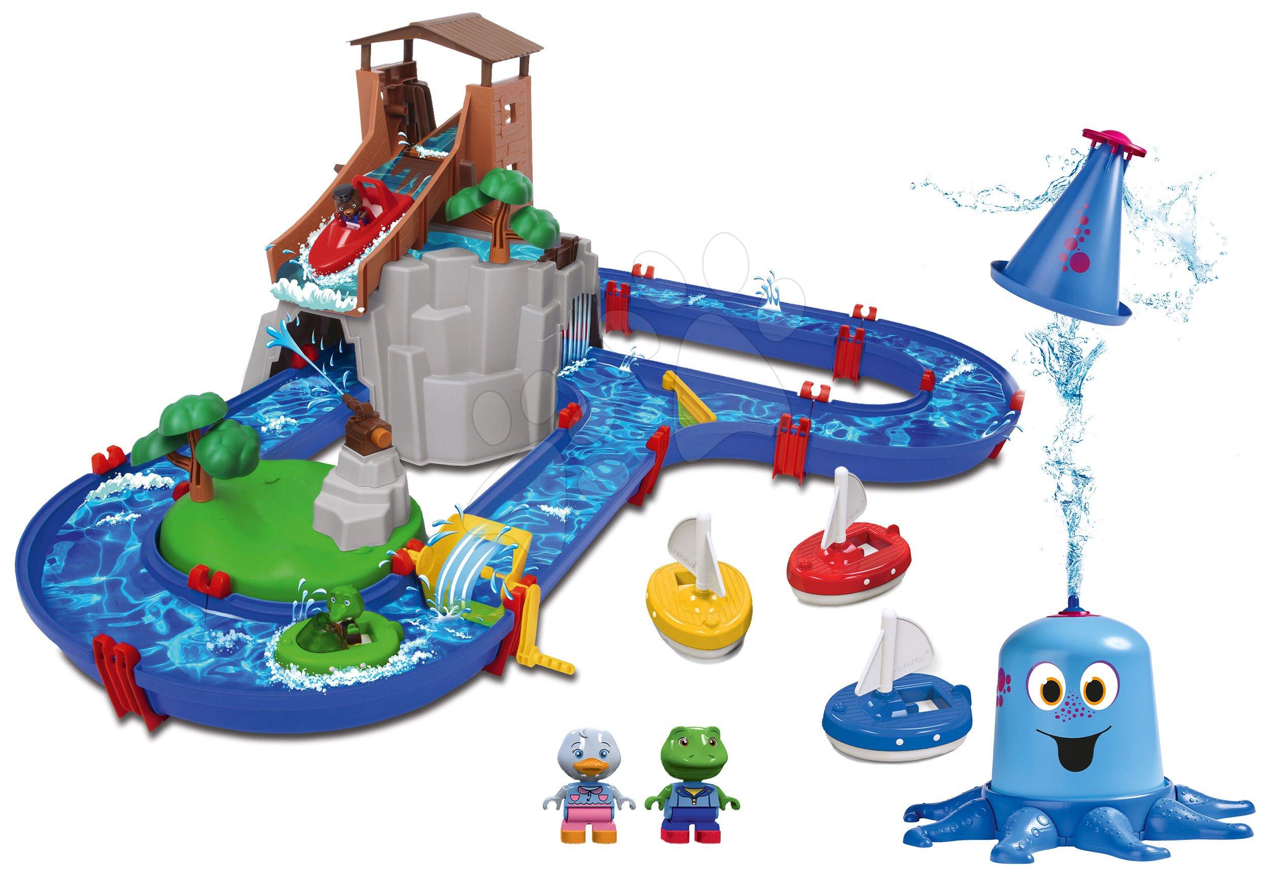 Set vodná dráha Adventure Land AquaPlay dobrodružstvo pod vodopádom a striekajúca vodná chobotnica s plachetnicami