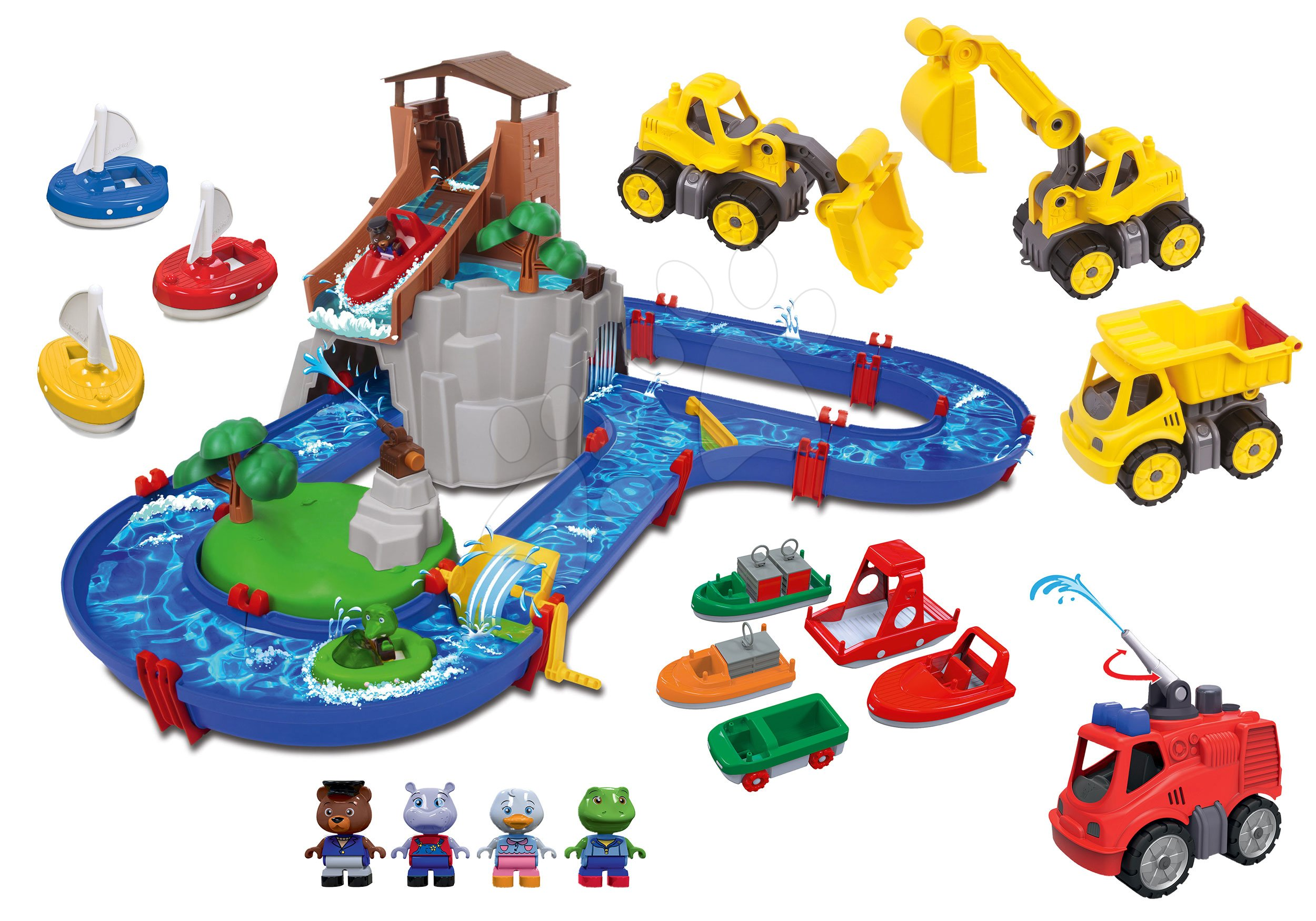 Set vodná dráha Adventure Land AquaPlay dobrodružstvo pod vodopádom a striekajúce auto s pracovnými strojmi a loďkami